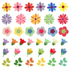 flower set element flat style