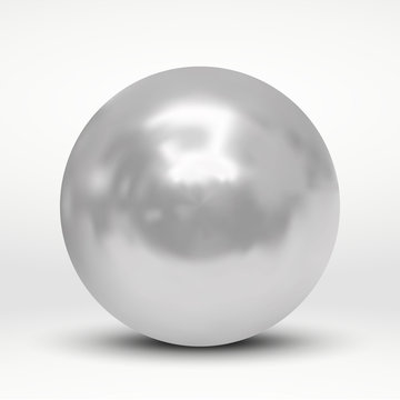 Realistic silver ball isolated on white background. pearl
