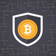 Bitcoin golden coin with shield in security concept design. Crypto currency digital security vector. Bitcoin vector illustration