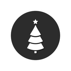 Christmas tree icon on round background with long shadow. Vector illustration, Christmas Flat design