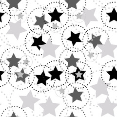 Stars Seamless Pattern with circle dots. The vector image. Starry night sky