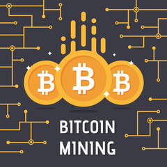 Golden bitcoin digital currency. Bitcoin mining vector illustration. Cryptocurrency technology and digital money. vector illustration