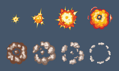 Animation of the explosion effect, broken into separate frames.