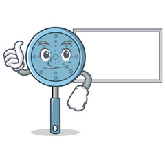 Thumbs up with board skimmer utensil character cartoon