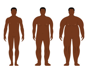 Fat African Men. Cartoon, Outline style. Human front side Silhouette. Isolated on White Background. Vector illustration