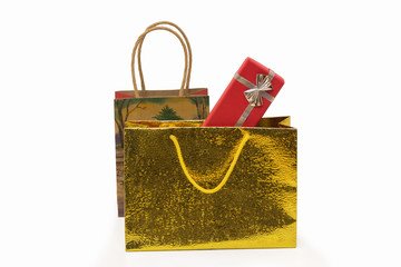 Gift shopping bags with red box