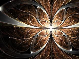 Dark fractal butterfly or flower, digital artwork for creative graphic design