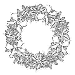 Mistletoe wreath illustration