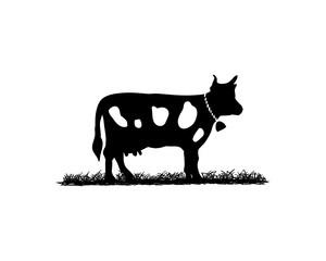 Black Cow Illustration Animal Logo Silhouette