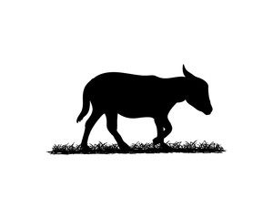 Black Donkey Illustration Animal Logo Silhouette
