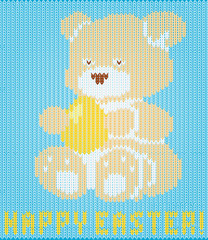 Happy Easter knitted teddy bear background, vector illustration