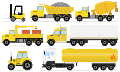 Different commercial truck. Freight transport.