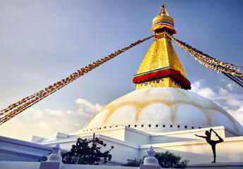 Yoga at Bodnath stupa in Kathmandu