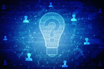 2d bulb future technology, innovation background, creative idea concept