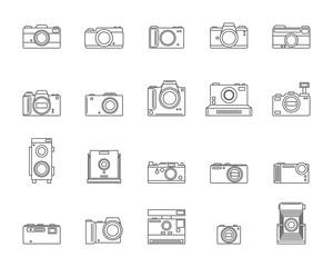 Photo Camera Signs Black Thin Line Icon Set. Vector