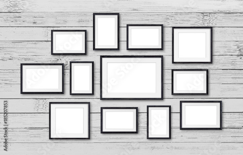 Photo frames collage, twelve set collection on wooden planks wall ...