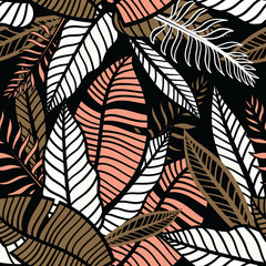 Colorful tropical pattern with exotic plants. Seamless vector hand drawn tropical wallpaper with leaves.