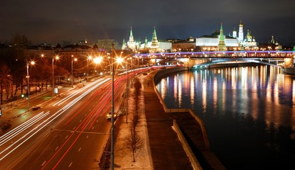 View of Moscow Kremlin river at night. Moscow, Russia/See  Moscow Kremlin wall, Kremlin Palaces, Orthodox Christian Churches, Bell tower of Ivan Great