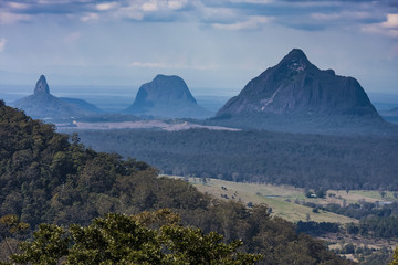 View of the Glashouse Mountains, Sunshine Coast hinterland, South East Queensland.