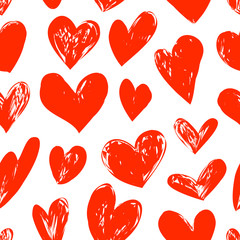Seamless red pattern with heart, vector illustration
