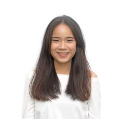 Portrait Asian women black long hair adult happy smile enjoy on white background