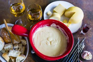 Traditional Swiss fondue with Gruyere cheese.