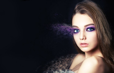 Wall Mural - professional make-up. portrait girl. effect