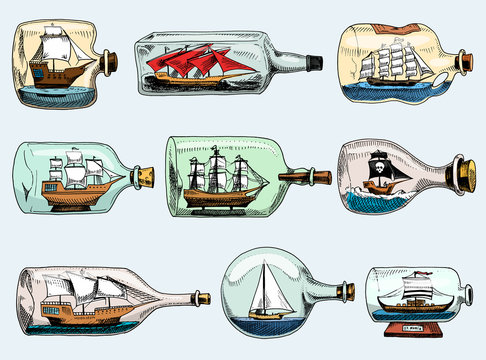 Ship in bottle vector boat in miniature gifted sail souvenir in glass sailboat with cork or shipping in flask isolated on the white background