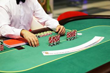 Casino gambling for money. The dealer deals cards