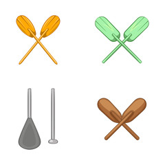 Paddles icon set, cartoon style