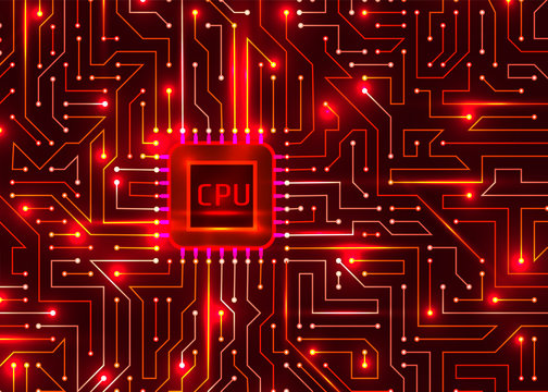 hi tech digital redbackground, cpu, vector