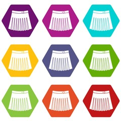 Tennis female skirt icon set color hexahedron