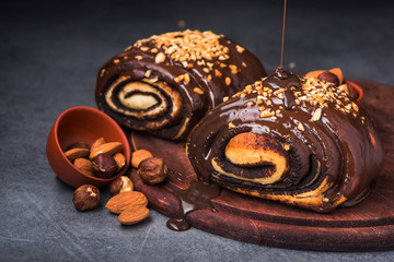 bun in chocolate and nuts