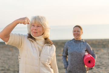 senior woman exercising outdoor