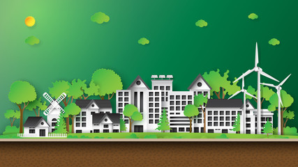 Green eco city and renewable energy of environment conservation concept.Nature landscape background paper art style.Vector illustration.