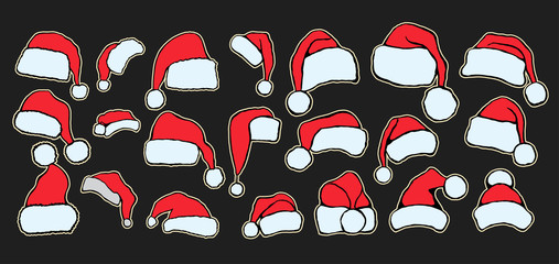 Collection of red santa hats.