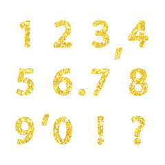 Luxury festive Golden glitter sparkling alphabet numbers