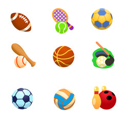 Cartoon icons of sports with balls / There are cartoon icons of balls for American football, tennis, volleyball, baseball, basketball, golf, football, handball, bowling