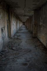 Scary and dirty old hospital corridor.