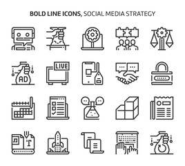 Social media strategy, bold line icons