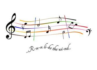 Musical score Run like the wind