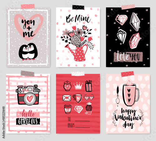 Wall mural Valentine`s Day card set - hand drawn style with calligraphy.