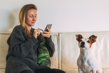 Front view. Young woman is sitting on white couch,using smartphone. There is dog nearby. Girl working, learning online, checking email. Distance work, online marketing, education. Social network.