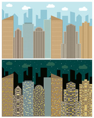 Street view with cityscape, skyscrapers and modern buildings in the day and night. Vector urban landscape illustration.