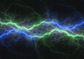 Blue and green lightning bolt, abstract plasma and power background