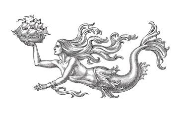 Русалка несущая парусный кораблик, аллегория моря. Рисунок тушью на белом фоне.