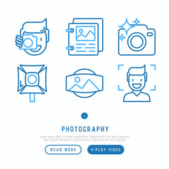 Photography thin line icons set of photographer, film, crop, focus, light, panorama. Vector illustration.