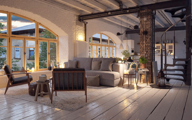 old vintage luxury loft apartment downtown in candle light - renovierte Loft Wohnung im Kerzenschein