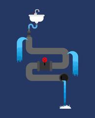 Litter in sink. Water pipe is spoiled. old pipes. Water leak. Sewerage is broken. Vector illustration