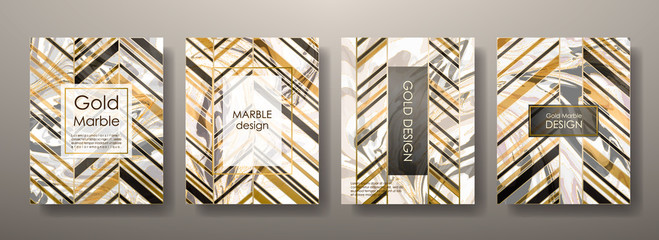 Gold marble template set, artistic covers design, colorful texture,realistic fluid backgrounds. Black, white Trendy pattern, graphic poster, watercolor geometric brochure, cards. Vector illustration